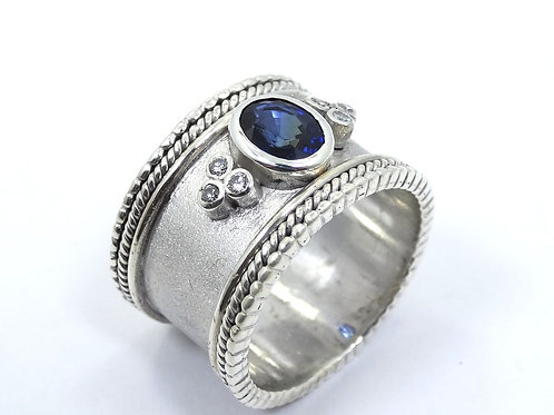 Elegant Quality SAPPHIRE & DIAMOND Sterling Silver WIDE Milgrain Cord Ring 8-1/4