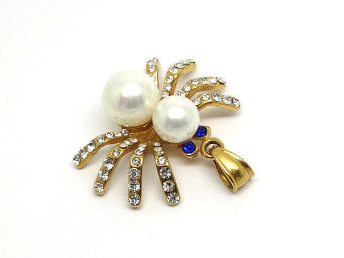 Neat 316L Stainless Steel SPIDER Faux Pearl Rhinestone Pendant