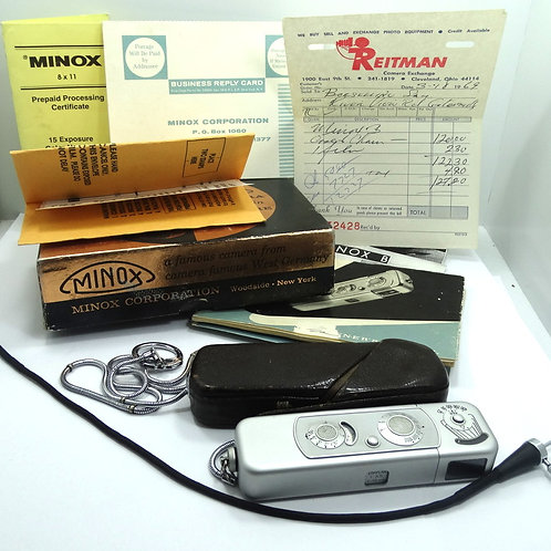 THE SPY CAMERA - MINOX Mini Camera B with Built in Exposure Meter, All Pictured