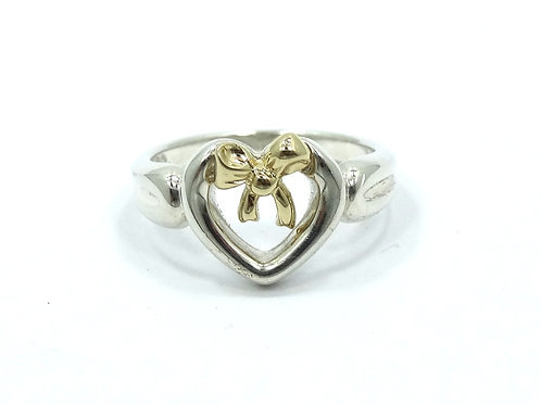 1991 TIFFANY & CO 18K Gold RIBBON BOW Sterling Silver Open HEART Ring
