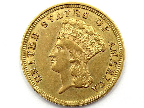 1854 AU+ $3 Gold INDIAN PRINCESS U.S. Three Dollar Coin