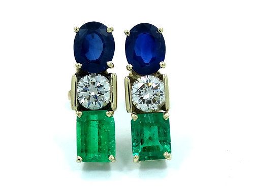 Custom made SAPPHIRE DIAMOND EMERALD 14k postback Earrings
