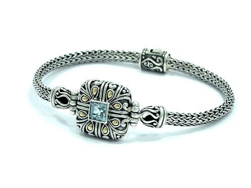 ROSS & SIMMONS (DS) Blue Topaz 18k Gold Sterling Silver Bracelet