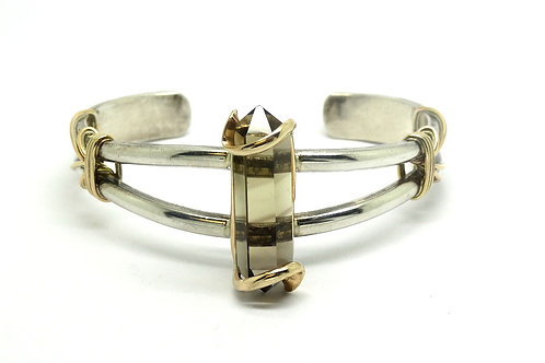 UMA Smoky Quartz Sterling Silver & GF Cuff Bangle