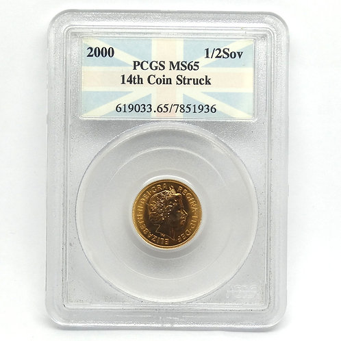 2000 G.B. 1/2 GOLD SOVEREIGN PCGS MS65 14th Coin