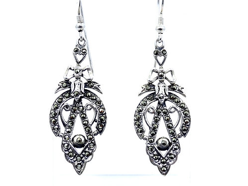 Antique ART DECO Marcasite Sterling Silver Heart Ribbon Dangle Earrings