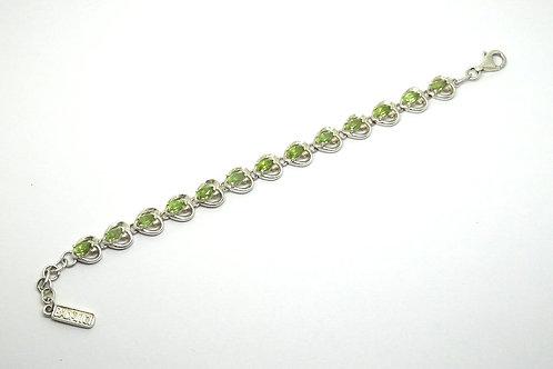 Sterling Silver Peridot Heart Shaped Bracelet