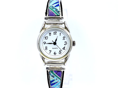 EARL PLUMMER TSF A Touch of Sante Fe Inlaid Sterling Silver Band Watch