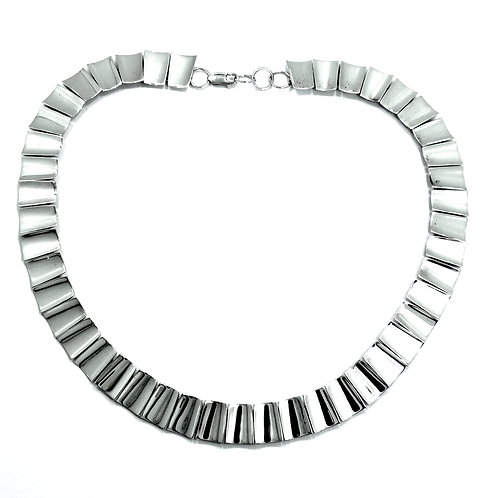 Mexican Modernist ATI Rectangle Piano Keys Links Sterling Silver Necklace