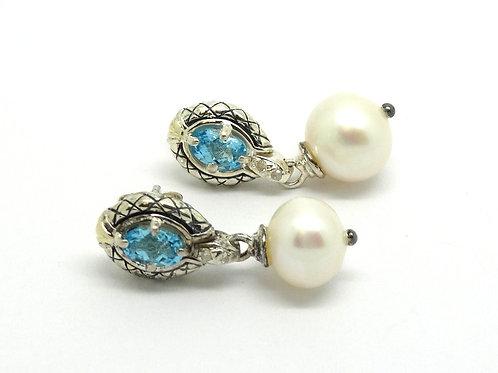 Topaz Diamond Silver 14K Gold Pearl Drop Earrings