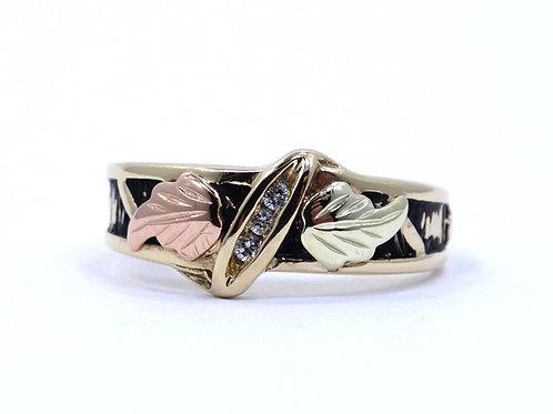 Vintage DIAMOND Band 10K BLACK HILLS GOLD Grapes & Leaves Ring