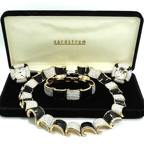 Fabulous SWAROVSKI White Rhinestone Black Enamel Bracelet Necklace Earrings Set