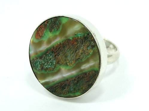 Fabulous ABALONE SHELL Statement NF 925 Chapal Zenray Sterling Silver Ring 6-1/2