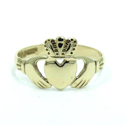 CLADDAGH FNM Dublin (G) 1992 Vintage IRISH MADE 9Ct 375 Gold Wedding Ring s.7