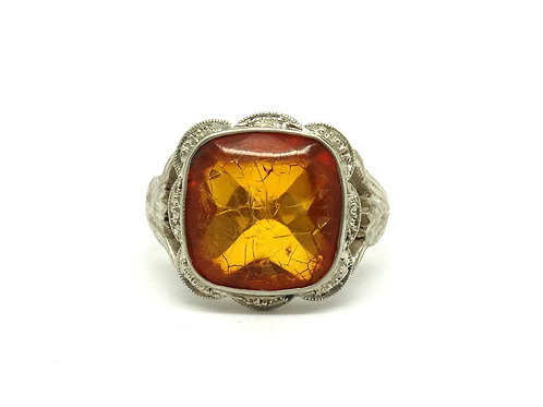 Vintage European Golden AMBER Silver Filigree Ring