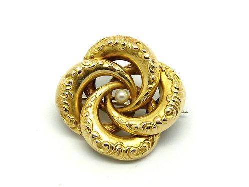 Art Nouveau 10K Gold REPOUSSE Pearl Brooch