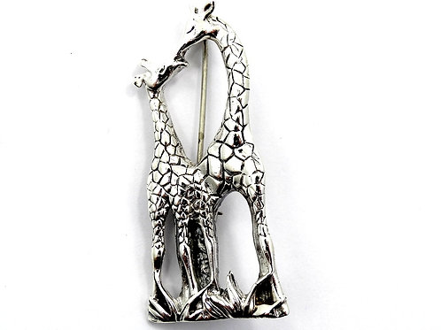 JEZLAINE Jez Mother & Baby Calf GIRAFFE 925 Sterling Silver Brooch Pin