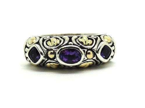 SAMUEL BENHAM Amethyst 18k Gold & Silver BJC Ring