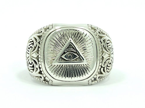 Vintage ALL SEEING EYE ILLUMINATI Egyptian Sterling Silver Ring