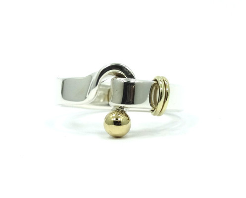 7676f5cd2 TIFFANY & CO 925 750 HOOK&EYE 18k Gold Ball Knot Sterling Silver Band Ring  T&CO