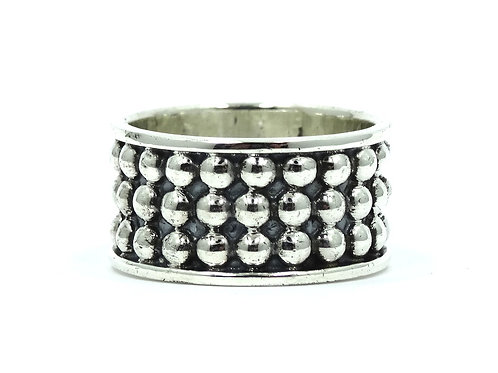 Taxco MEXICO TC-44 Brutalist style Sterling Silver Ball Design Ring Band