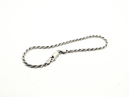 Italy Simple Sterling Silver Rope Chain Bracelet