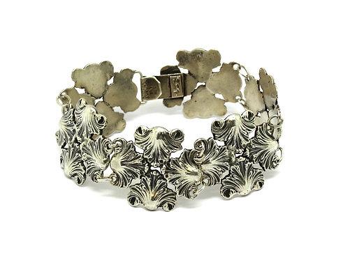 Vintage RUBENS Mexico Floral Shell design Link Sterling Silver Bracelet
