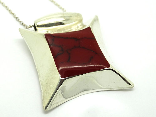 Mexican Blood Red JASPER 925 Silver Pendant