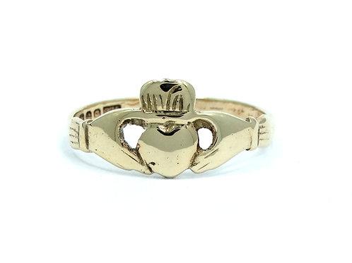 Antique M.W.C. Dublin Ireland CLADDAGH 9Ct 375 Gold Wedding Ring 7-3/4