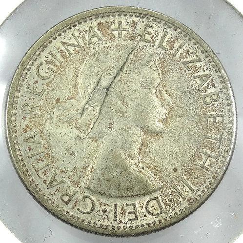 Rare LAMINATION ERROR 1953 Australia Florin .500 Silver Coin