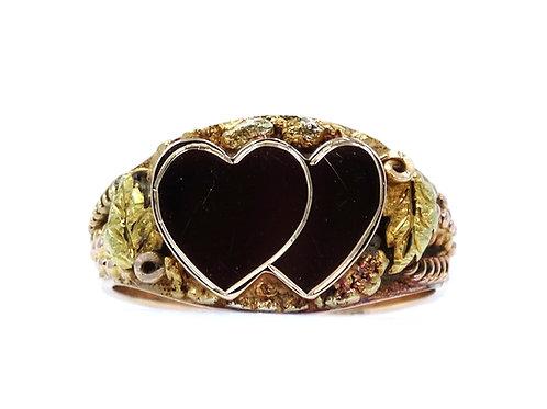 Vintage SWEETHEART Black Hills CALIFORNIA GOLD NUGGET 14K HEART Signet Ring
