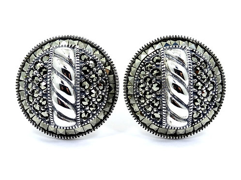 JUDITH JACK Cable Marcasite CIRCLE Sterling Silver French Clip Post Earrings