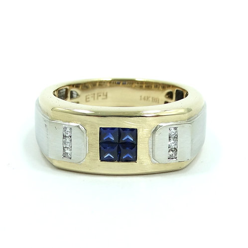 Men's EFFY 4 Ceylon SAPPHIRE & DIAMOND 14k Yellow & White Gold Ring s.10