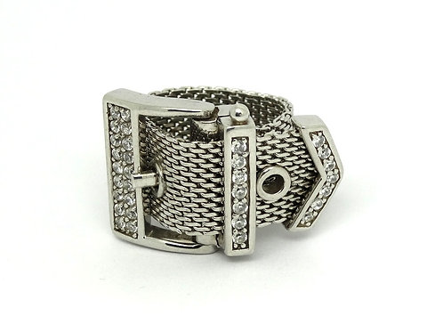 SARA BOTELLO CZ Belt Buckle Sterling Silver Mesh Somerset Style Ring