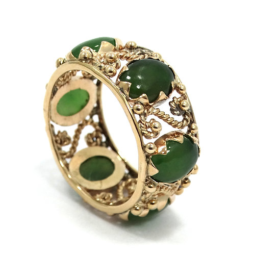 Vintage Old Chinese Filigree Ring Eternity Taiwan JADE 14k Gold 10mm Band