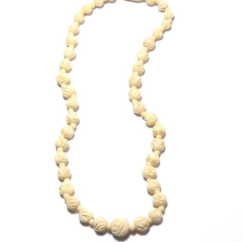 Rare Vintage Carved Bone Graduated Bead Necklace