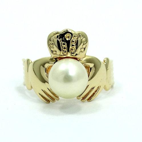 Vintage IRISH CLADDAGH MAC 14k Gold Culture PEARL Wedding Ring s.5