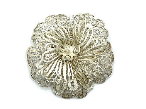 Fabulous Vintage CANETILLE Filigree Flower Sterling Silver Brooch Pin
