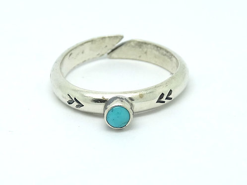 Vintage HOPI Native American Turquoise Silver Ring