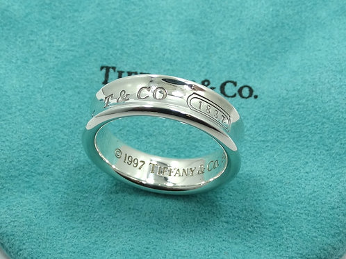 Mens 1997 TIFFANY & CO 1837 925 Sterling Silver CONCAVE Ring Band 10.5
