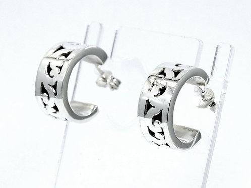 LOIS HILL Bali Cut Out Filigree SCROLL Sterling Silver Post back HOOP Earrings