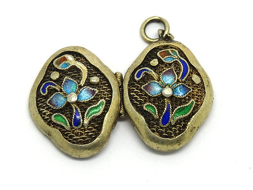 Vintage CHINESE Gold Gilt Silver Enamel Locket