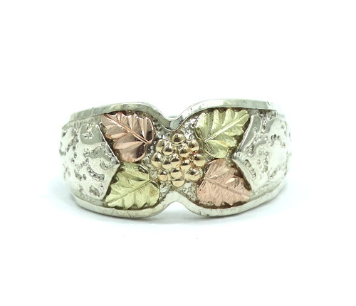 d23df8099 Vintage COLEMAN CO 12K BLACK HILLS GOLD Grapes & Leaves Sterling Silver  Ring s.7