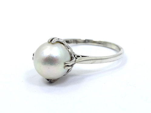 Antique 1920's ART DECO FP Japanese 9mm AKOYA PEARL Sterling Silver Wedding Ring