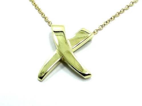 "PALOMA PICASSO ""X"" KISS Tiffany & Co 18K Yellow Gold 16"" Necklace"