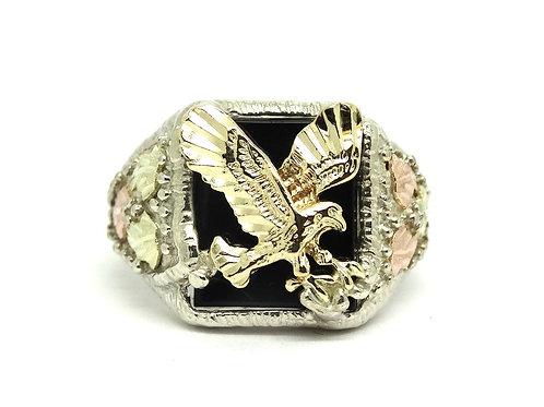 Mens Biker EAGLE Ring 10K BLACK HILLS GOLD & 925 Sterling Silver Onyx Ring s.11