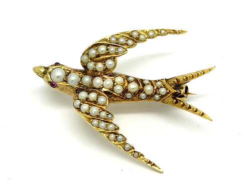 Victorian Antique SPARROW Seed Pearl Ruby Eyes 14k Gold Brooch Pin