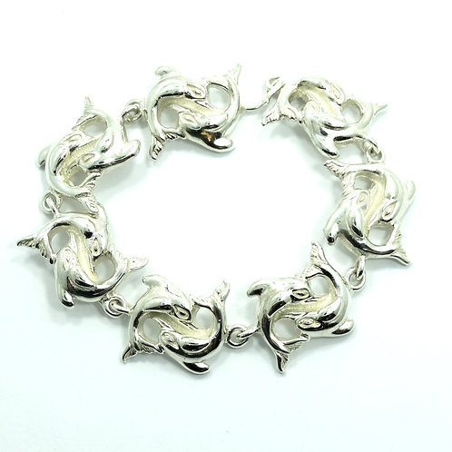 """Vintage TAXCO Mexico D'MOLINA TM-90 DOUBLE DOLPHIN Sterling Silver Bracelet 7"""""""