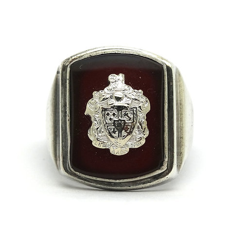 Vintage MASONIC De Molay Shield Crest Carnelian Sterling Silver Ring