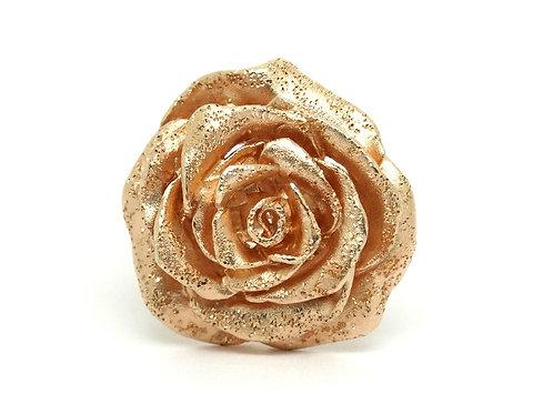 """Exquisite JACMEL """"JCM"""" 925 Textured ROSE Gold Toned Sterling Silver Flower Ring"""